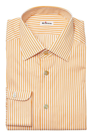 Kiton, Orange Stripe Dress Shirt