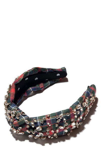 Plaid Mixed Crystal Headband