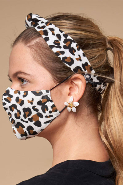 Ivory Leopard Face Mask & Headband Bundle