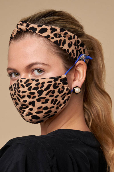 Leopard Face Mask & Headband Bundle