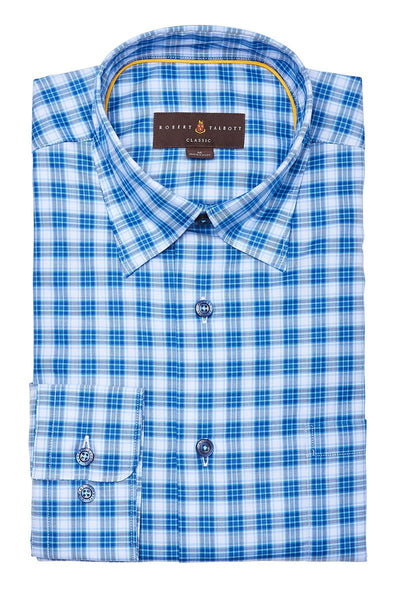 Robert Talbott, Blue Plaid Sportshirt