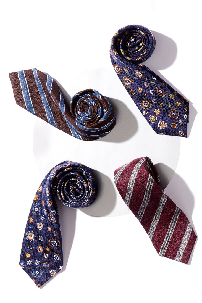 Navy & Orange Floral Tie