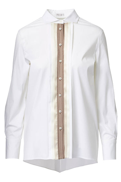 Brunello Cucinelli, Pleated Placket Blouse