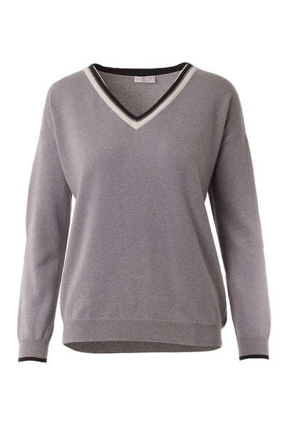 Brunello Cucinelli, Shiny Striped V-Neck Sweater