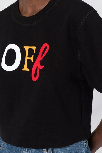 Off Typo Mix Cropped Tee