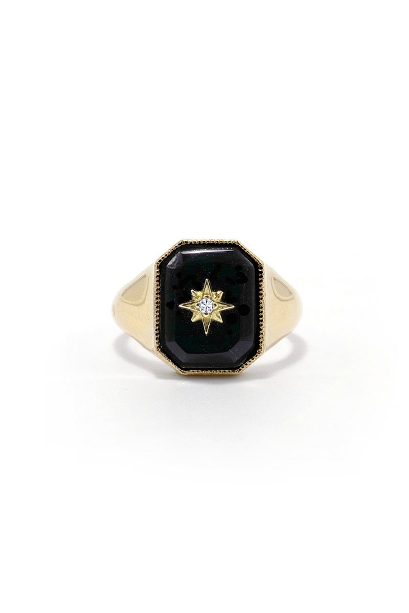 Ashley Zhang, Onyx Diamond Star Signet Ring