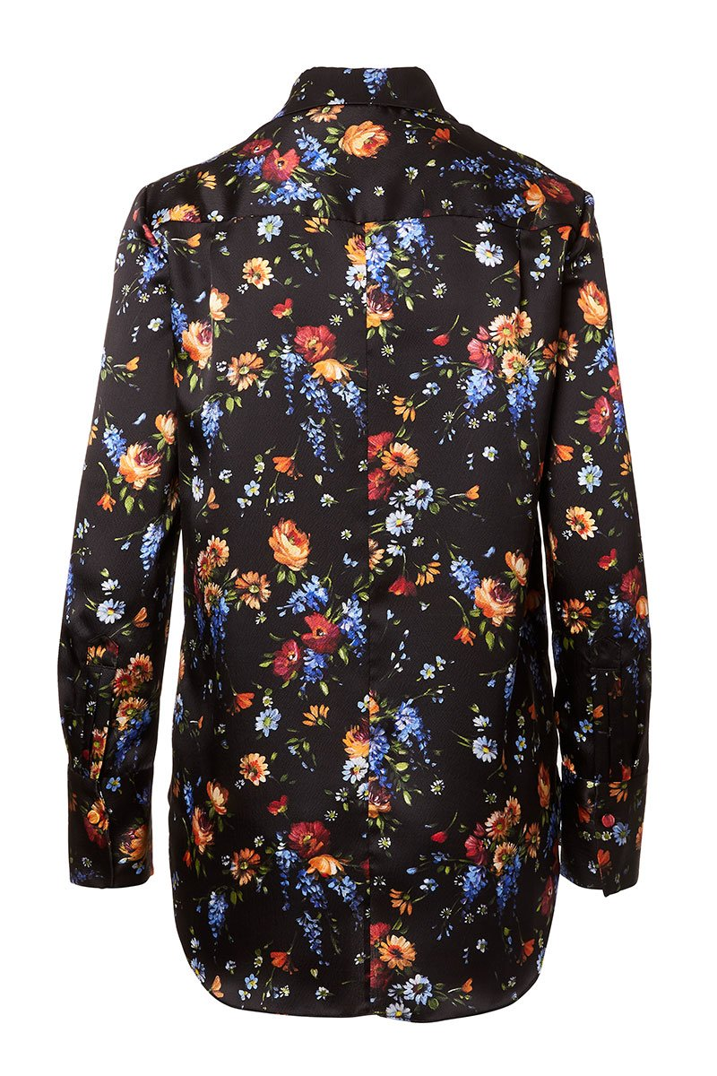Floral Hammered Silk Blouse
