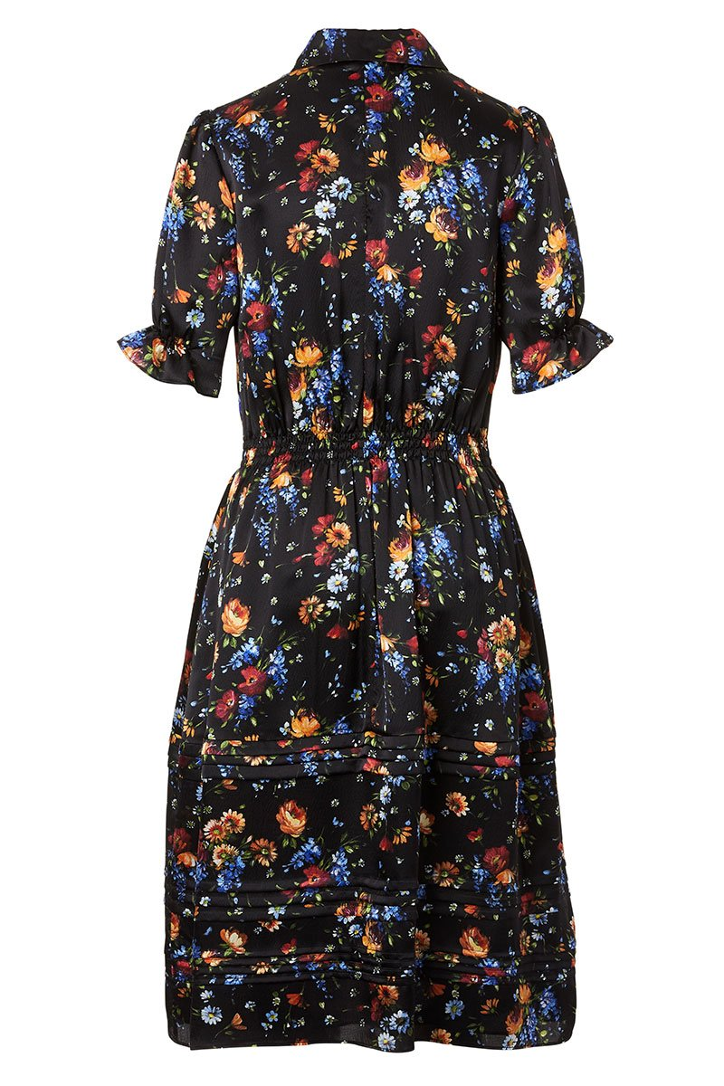 Floral Hammered Silk Dress