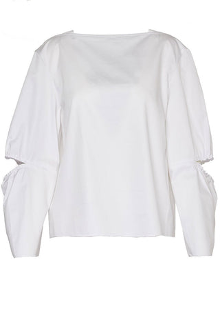 Eco Poplin Split Sleeve Top