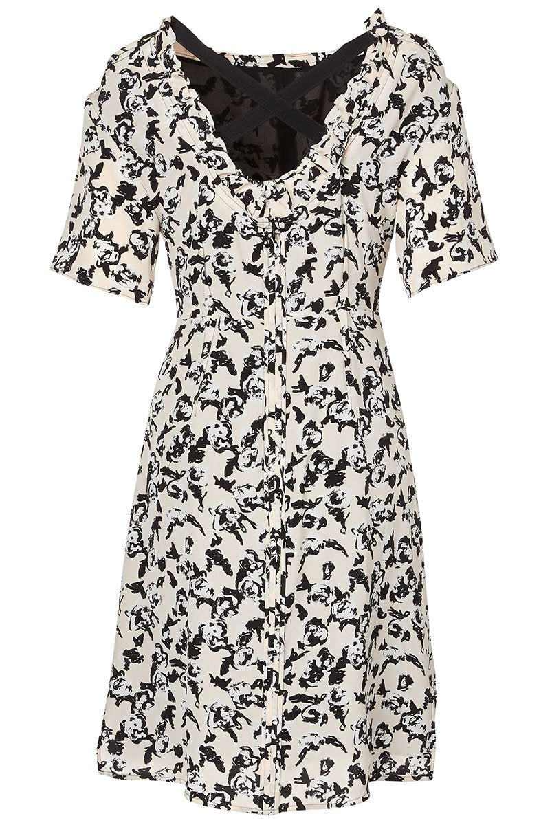 Scribble Rose Short Sleeve Dress