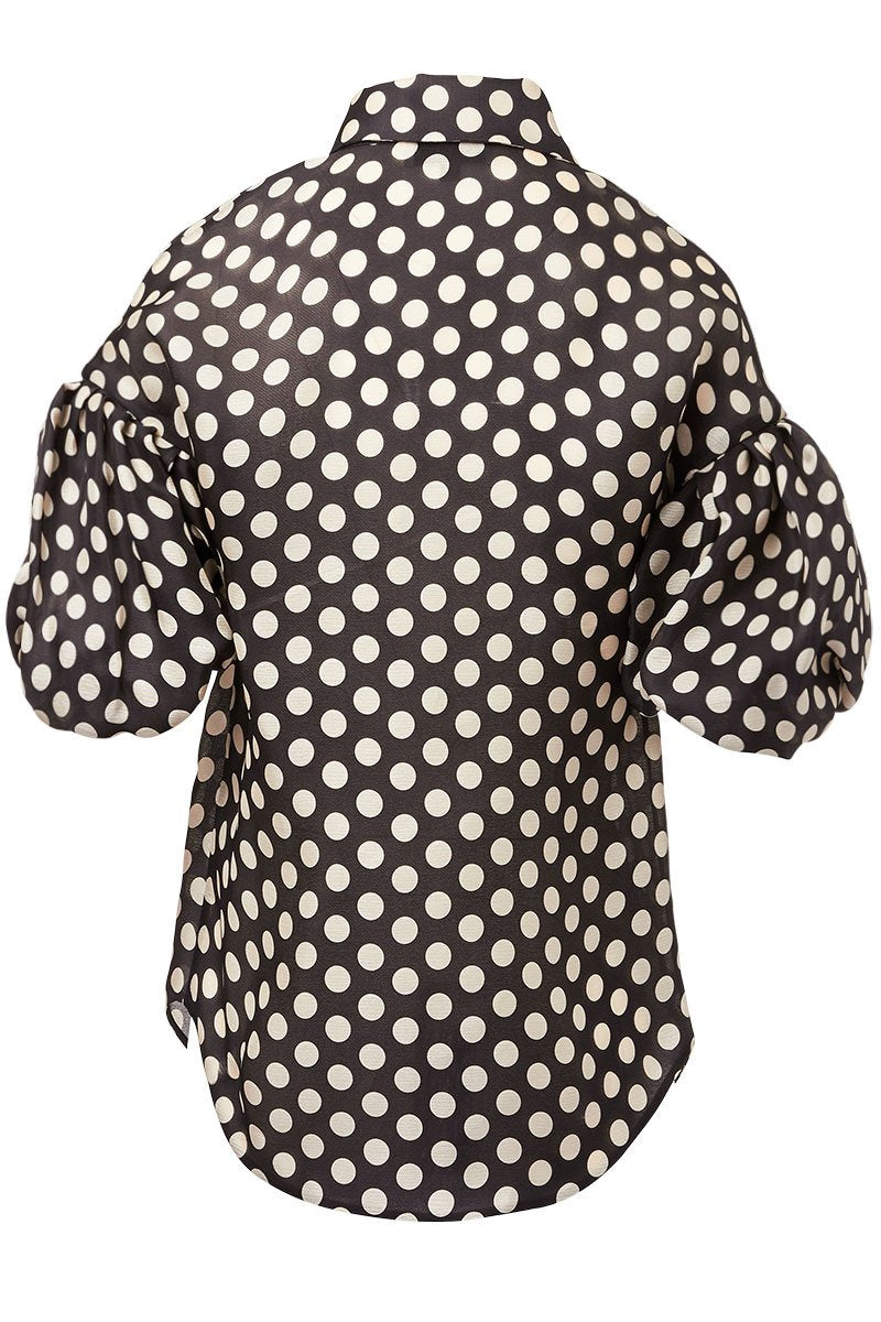Balloon Sleeve Polka Dot Shirt