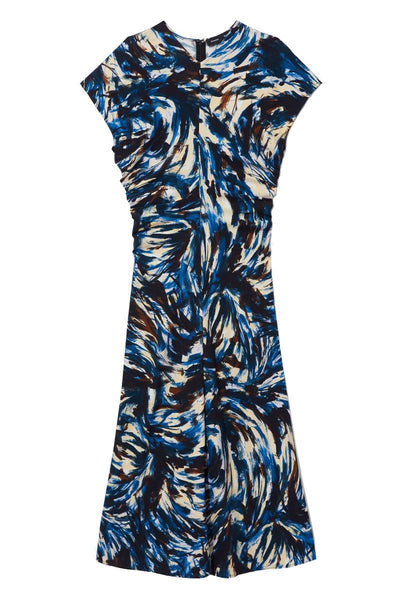 Feather Print Cinched Waist Dress