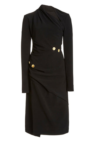 Spiral Button Crepe Dress