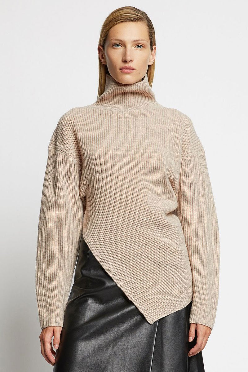 Asymmetric Merino Turtleneck
