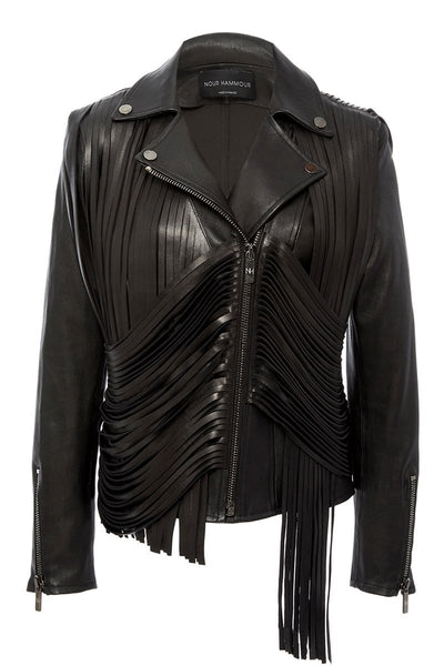 Retrograde Fringe Leather Jacket