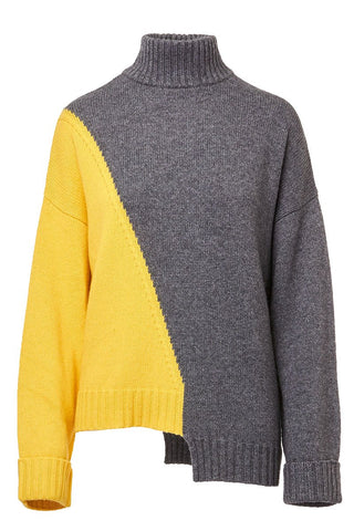 Asymmetric Colorblock Sweater