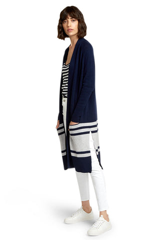 Border Striped Open Cardigan
