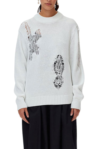 Applique Cotton Crewneck Pullover