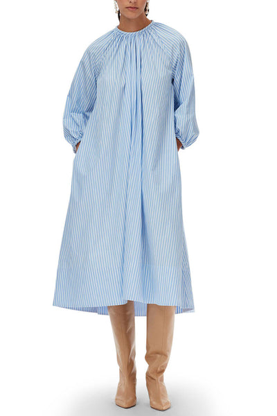 Awning Stripe Shirred Neck Pitched Dress