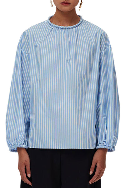 Awning Stripe Shirred Neck Top