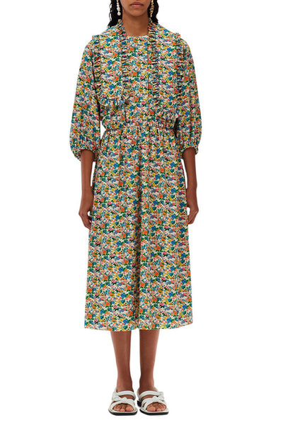 Sabine Floral Allonge Collar Waisted Dress