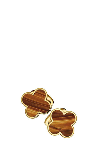 Tiger's Eye Four Leaf Clover Cufflinks