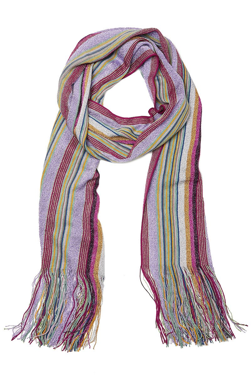 Stripe Fringed Scarf