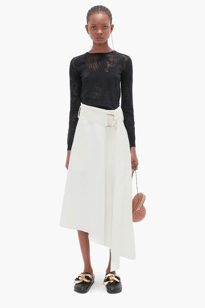 Asymmetric D-Ring Midi Skirt