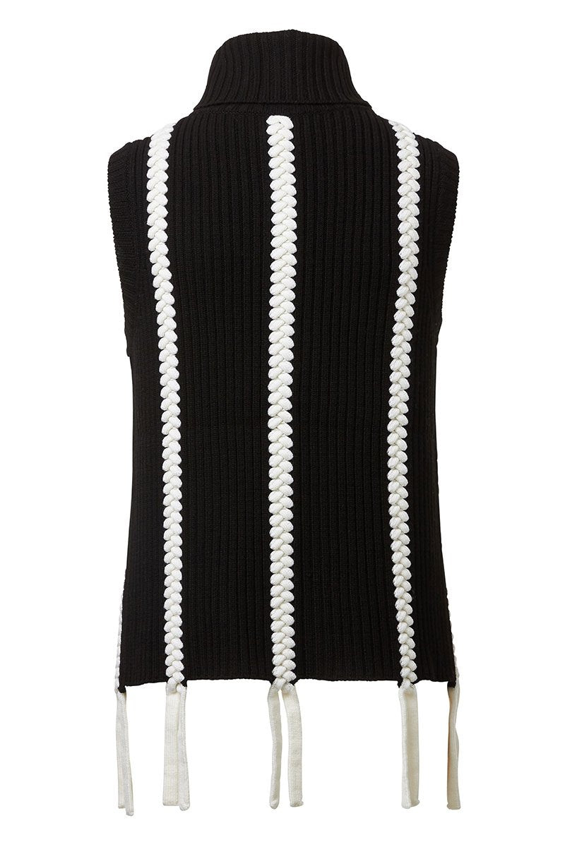 Braided Sleeveless Turtleneck