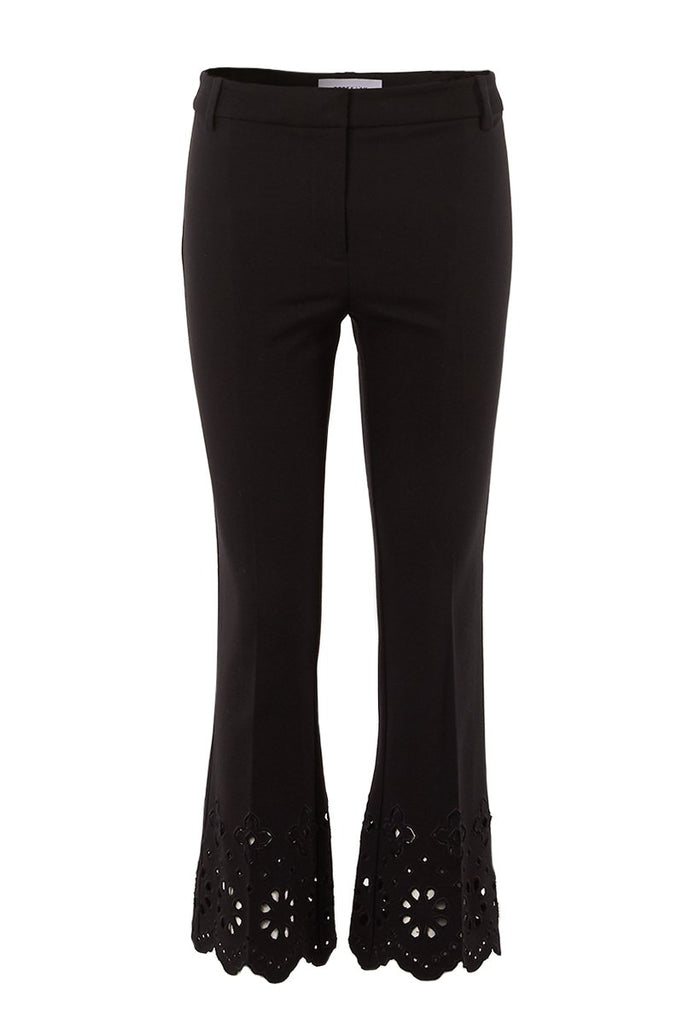 Eyelet Cropped Flare Trousers
