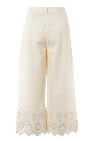 Eyelet Cropped Wide Leg Trousers