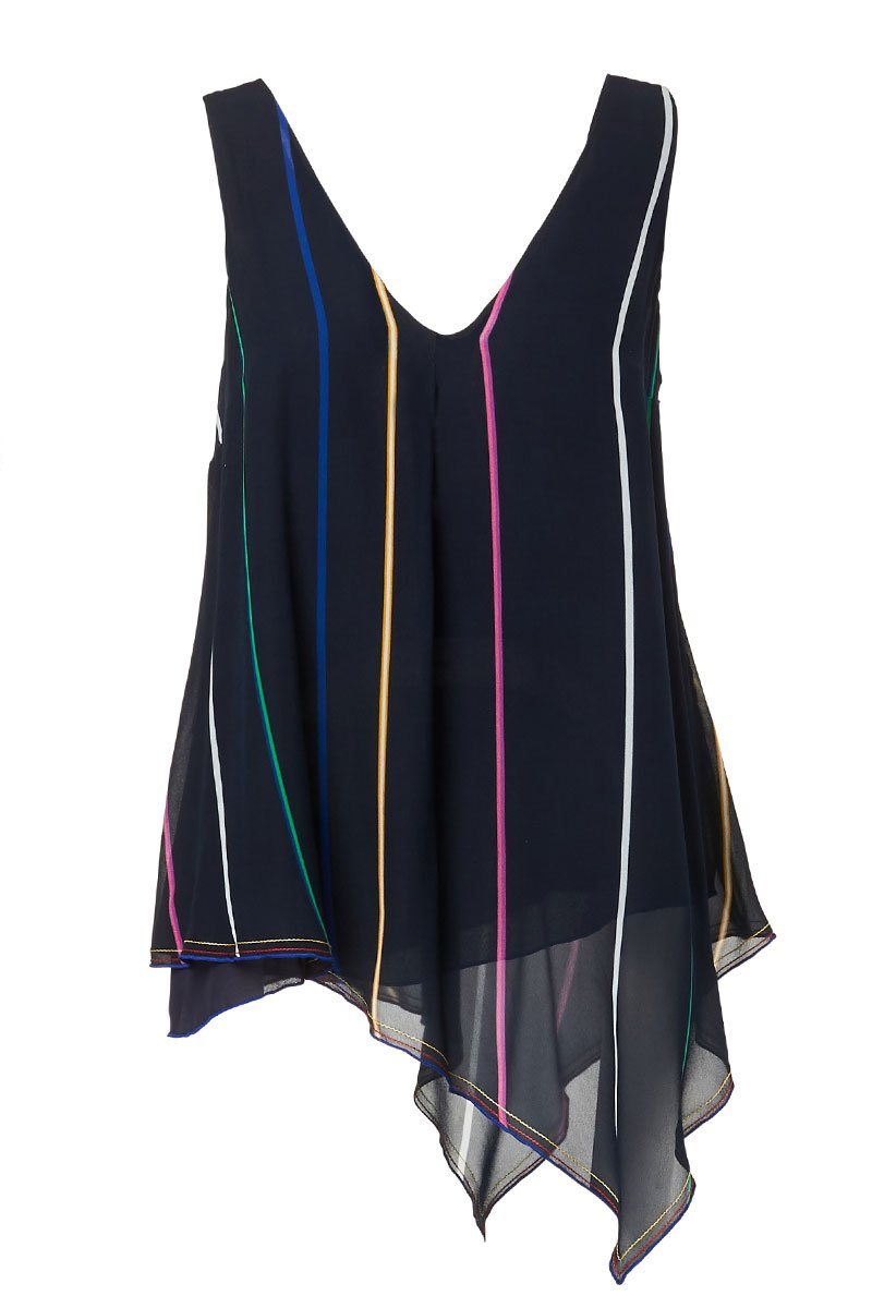 Derek Lam 10 Crosby, Asymmetrical Striped Tank