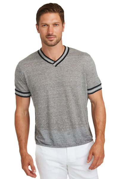 Stripe Trim V-Neck