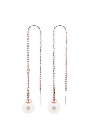 Joie DiGiovanni, Diamond Pearl Threader Earrings