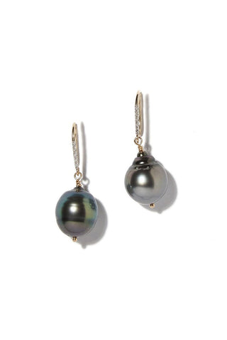 Joie DiGiovanni, Diamond Baroque Tahitian Pearl Drop Earrings