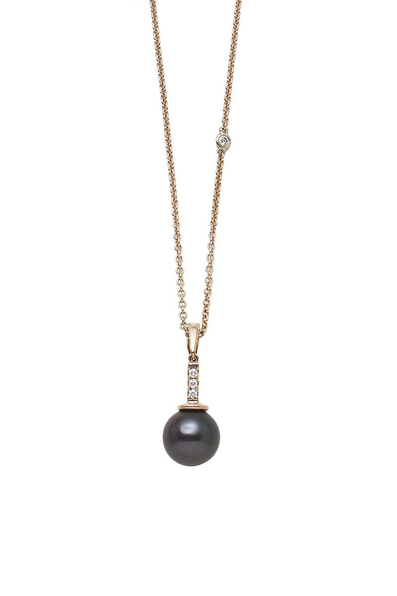 Joie DiGiovanni, Gold and South Sea Diamond Drop Pendant Necklace