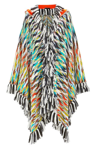 Watercolor Hooded Fringe Cape