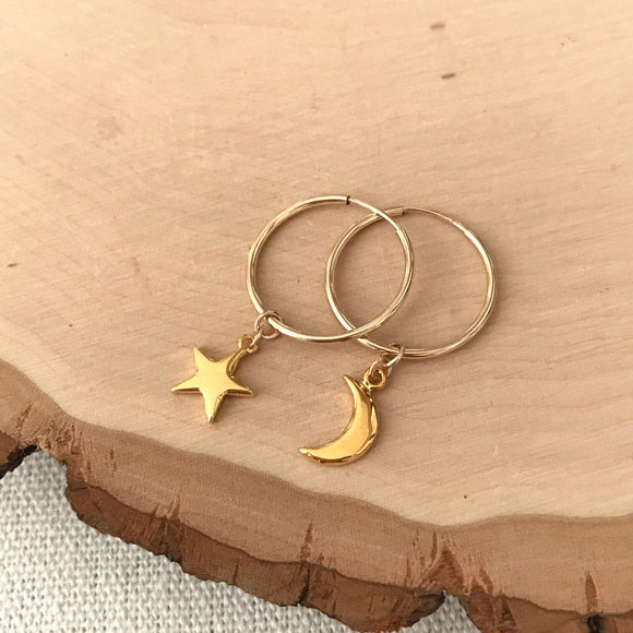 Star + Moon Mismatched Sophia Hoops