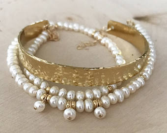 LOVE + SUCCESS Textured Pearl Cuff