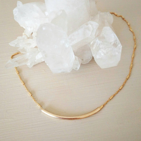 Gold Tube Bar Necklace