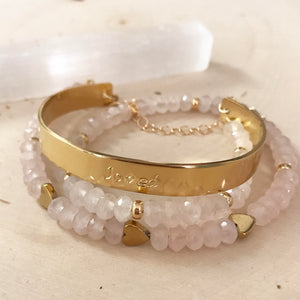 """Loved"" Rose Quartz Cuff"