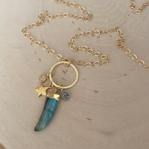 Leia Charm Necklace - Labradorite