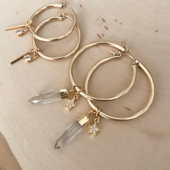 Crystal + Star Hoops