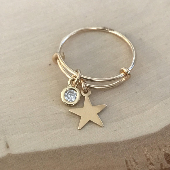 Star Sparkles Adjustable Charm Ring - Size 6-7