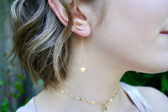 Celestial Moon Earclimbers + Star drop   3-in-1 design