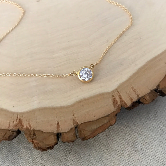 Tessa Solitaire Necklace (Gold or Silver)