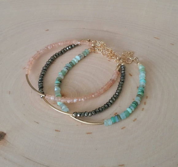 Gemstone Tube Bracelets