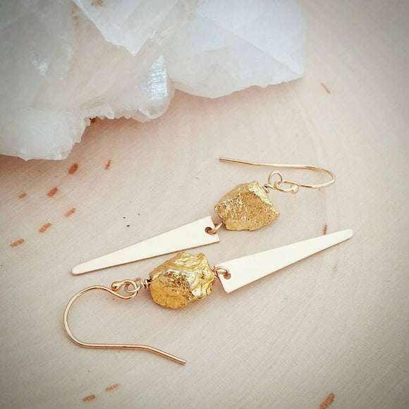 Gold Nugget Spike Earrings