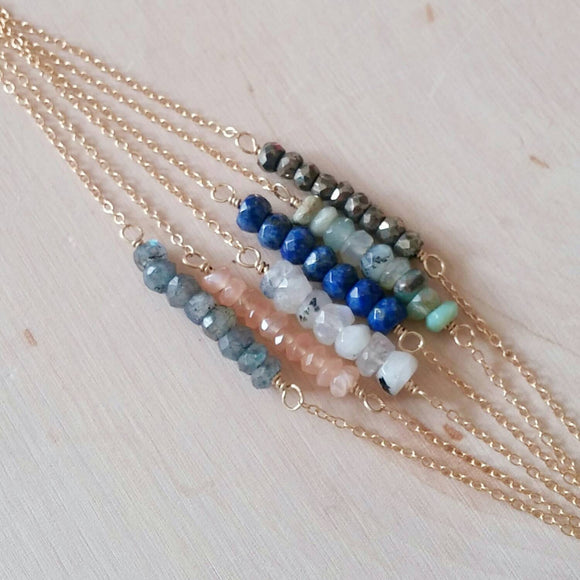 Gemstone Bar Necklace (Gold or Silver)