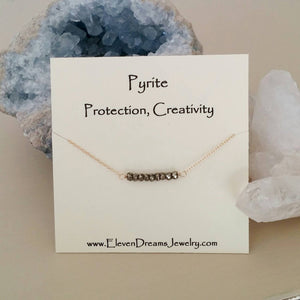 PROTECTION + CREATIVITY Pyrite Neckalce